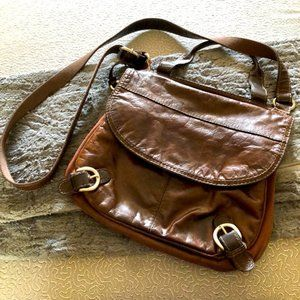 Fossil Lizette Leather Canvas Messenger Cross Body